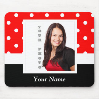 Red Polka dot photo template Mouse Pad