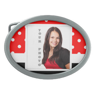 Red Polka dot photo template Oval Belt Buckle