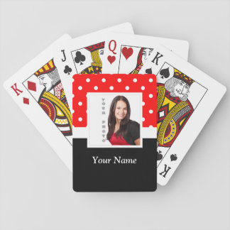 Red Polka dot photo template Poker Cards