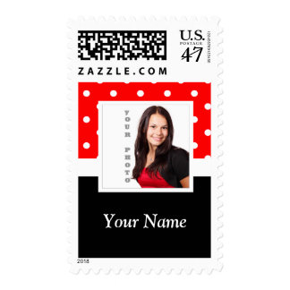 Red Polka dot photo template Postage