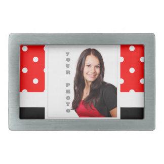 Red Polka dot photo template Rectangular Belt Buckle