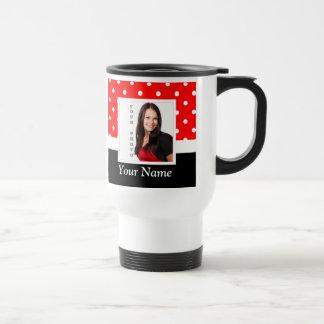 Red Polka dot photo template Travel Mug