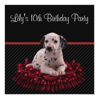 Red Polka Dot Puppy Girls 10th Birthday Party 5.25x5.25 Square Paper Invitation Card
