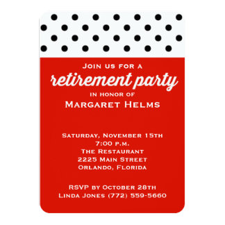Red Polka Dot Retirement Party Invite
