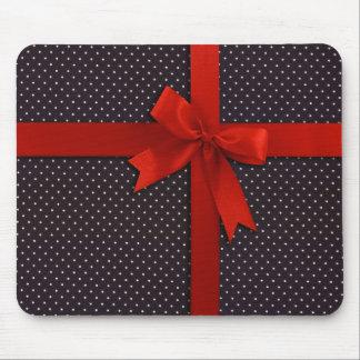 Red Polka Dot Ribbon Mouse Pad