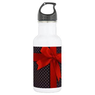 Red Polka Dot Ribbon Stainless Steel Water Bottle
