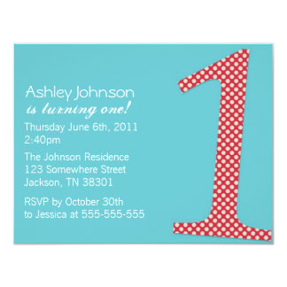 """Red Polka Dot & Turquoise First Birthday Invites 4.25"""" X 5.5"""" Invitation Card"""