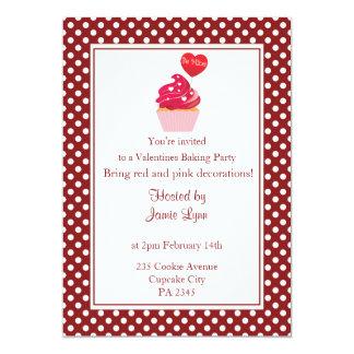 Red polka dot valentine's day party Invitation