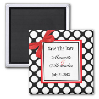 Red Polka Dot Wedding Save The Date Magnet