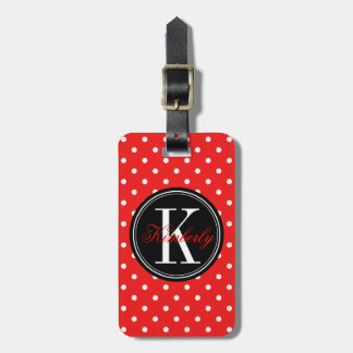 Red Polka Dot with Black Monogram Tags For Luggage