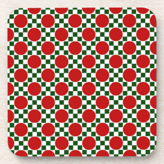 Red polka dots and small green squares beverage coaster