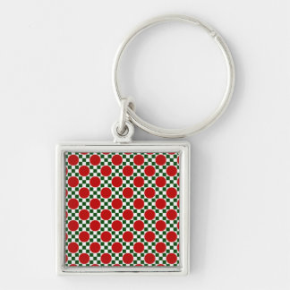 Red polka dots and small green squares keychain
