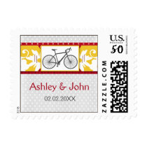 red polka dots bicycle wedding stamps