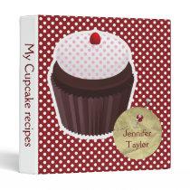 red polka dots cute cupcake Recipe binder