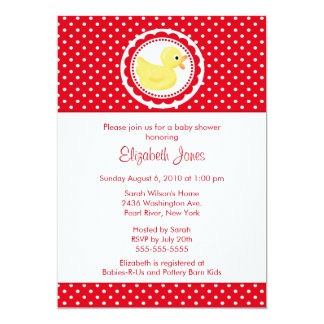 Red Polka Dots Duck Baby Shower 5x7 Paper Invitation Card
