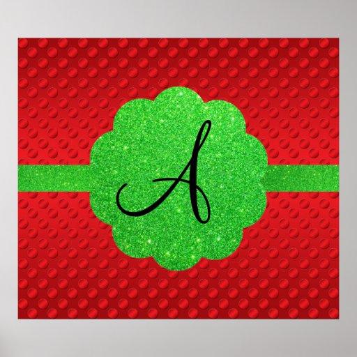 Red polka dots green glitter monogram poster