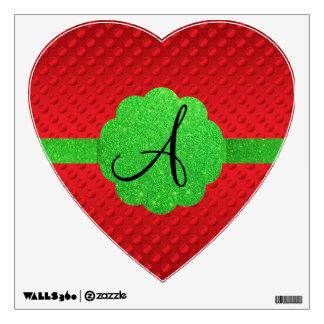 Red polka dots green glitter monogram room graphics