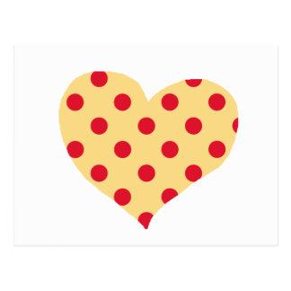 red polka dots heart postcard
