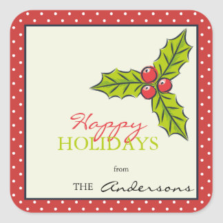 Red Polka dots holly berries  holiday sticker