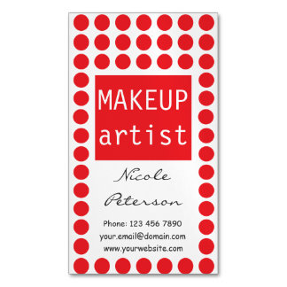 Red polka dots Magnetic Makeup Artist Magnetic Business Card