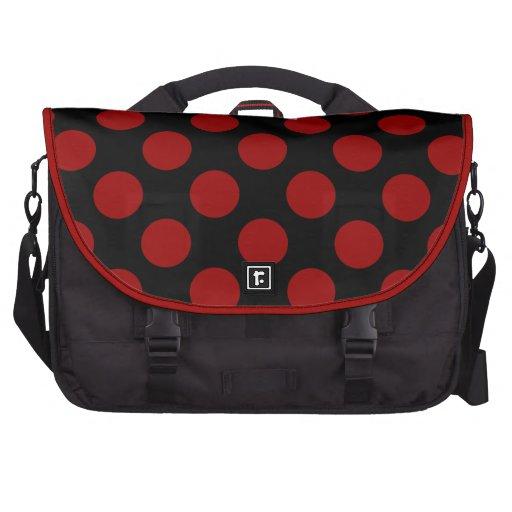 Red Polka Dots On A Black Background Laptop Bag