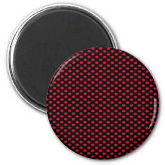 Red Polka Dots on Black Magnet