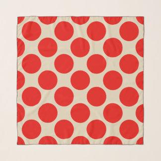 Red Polka Dots on Custom Cream Scarf