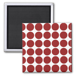 Red Polka Dots on White 2 Inch Square Magnet