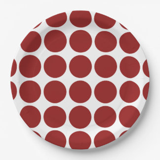 Red Polka Dots on White 9 Inch Paper Plate