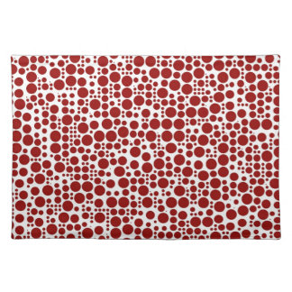 Red Polka Dots on White Background Placemat
