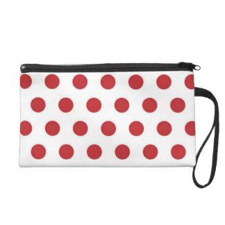 Red Polka Dots On White Background Wrist Bag