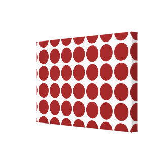 Red Polka Dots on White Canvas Print