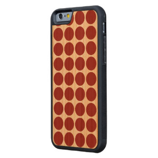 Red Polka Dots on White Carved® Cherry iPhone 6 Bumper Case