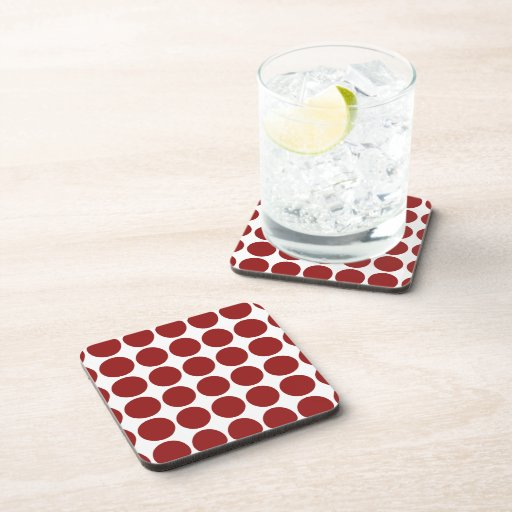 Red Polka Dots on White Drink Coaster