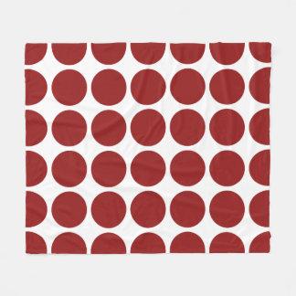 Red Polka Dots on White Fleece Blanket