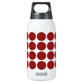 Red Polka Dots on White Insulated Water Bottle