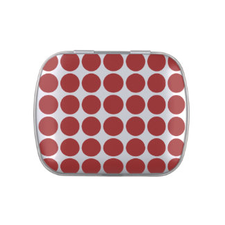 Red Polka Dots on White Jelly Belly Candy Tin
