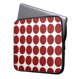 Red Polka Dots on White Laptop Sleeve