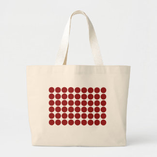 Red Polka Dots on White Large Tote Bag