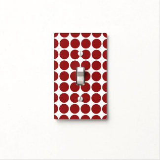 Red Polka Dots on White Light Switch Cover