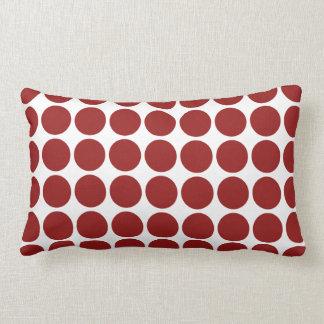 Red Polka Dots on White Lumbar Pillow