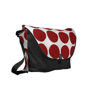 Red Polka Dots on White Messenger Bag