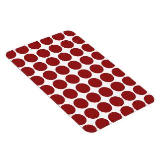 Red Polka Dots on White Rectangular Magnet