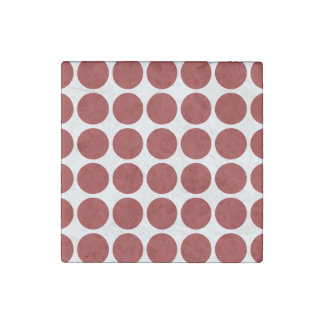 Red Polka Dots on White Stone Magnet