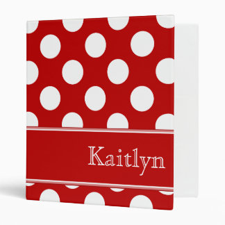 Red Polka Dots Personalized Binder