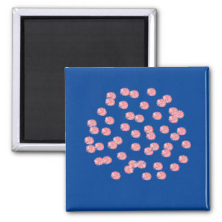 Red Polka Dots Square Magnet