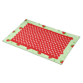 Red Polka dots & Strawberries on green background Cloth Placemat