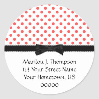 Red Polka Dots with Black Bow Address Stickers
