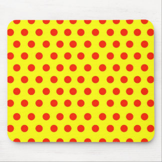 Red Polka dots with yellow background Mouse Pad
