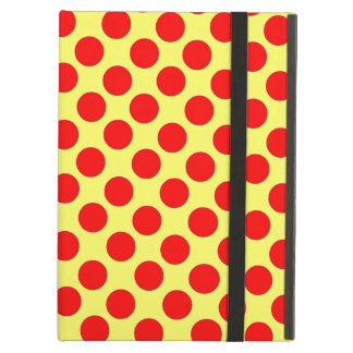 Red Polka Dots yellow background ipad case